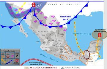 Mapa. Pronóstico de nevada para Juárez