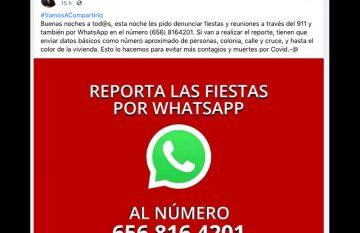Publicación de Armando Cabada, en la que anuncia la línea para denunciar fiestas por Whatsapp
