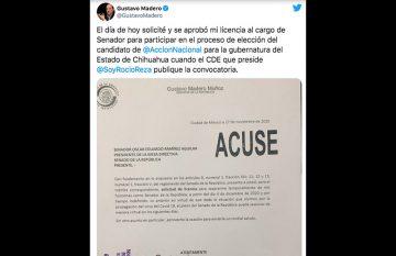 Tuit de Gustavo Madero en el que anuncia su separación del cargo