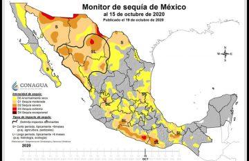 Mapa de sequía severa