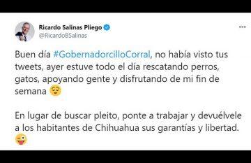 """Tuit de Ricardo Salinas Pliego en el que llama """"gobernadorcillo"""" a Javier Corral"""