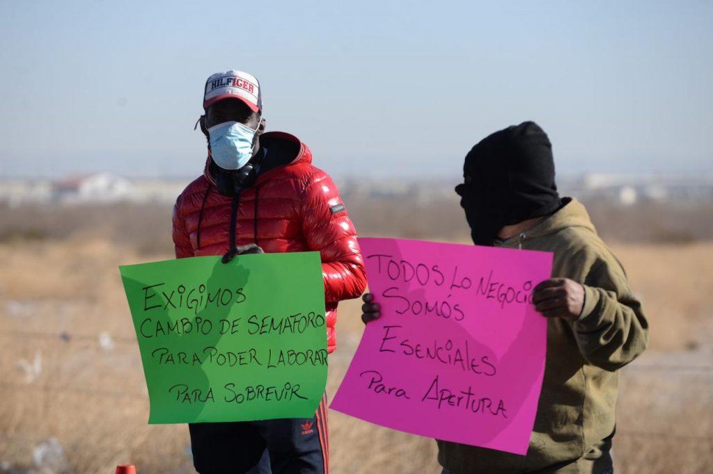 Manifestantes durante el cierre de la Panamericana