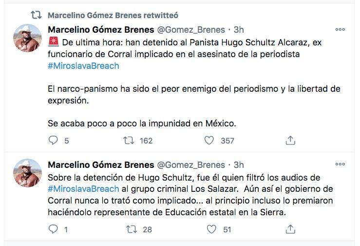 """Marcelino Gómez, activista, también denunció el """"narcopanismo"""" al referirse a la detención de Hugo Schultz."""