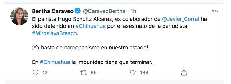 """A través de su cuenta de Twitter, la senadora Bertha Caraveo se refirió a la detención de Hugo Schultz, exalcalde de Chínipas y exfuncionario estatal. """"¡Basta de narcopanimos en Chihuahua!"""", dijo"""