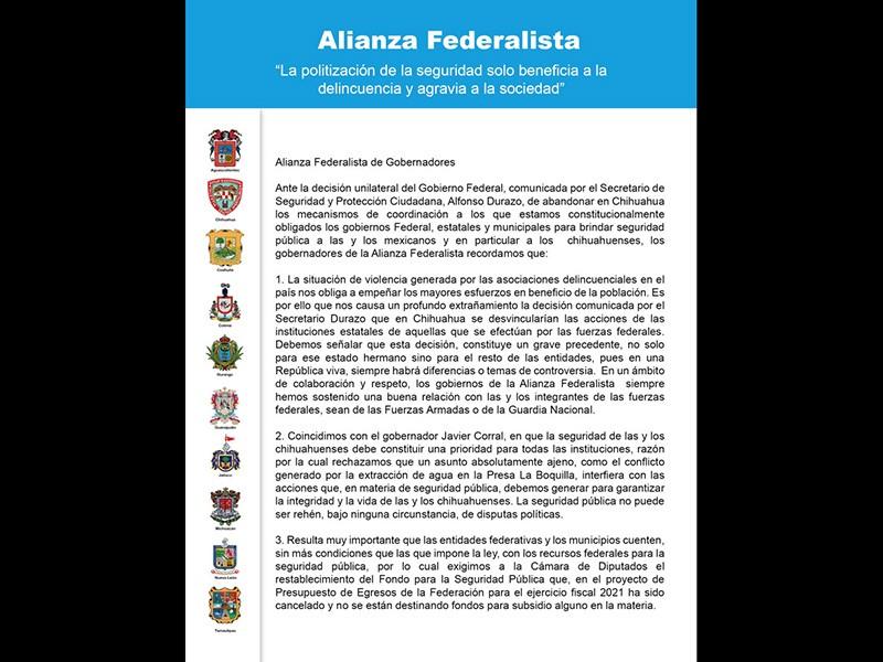 Carta de la Alianza Federalista en la que piden a la 4T que resuelva la descoordinación con Chihuahua