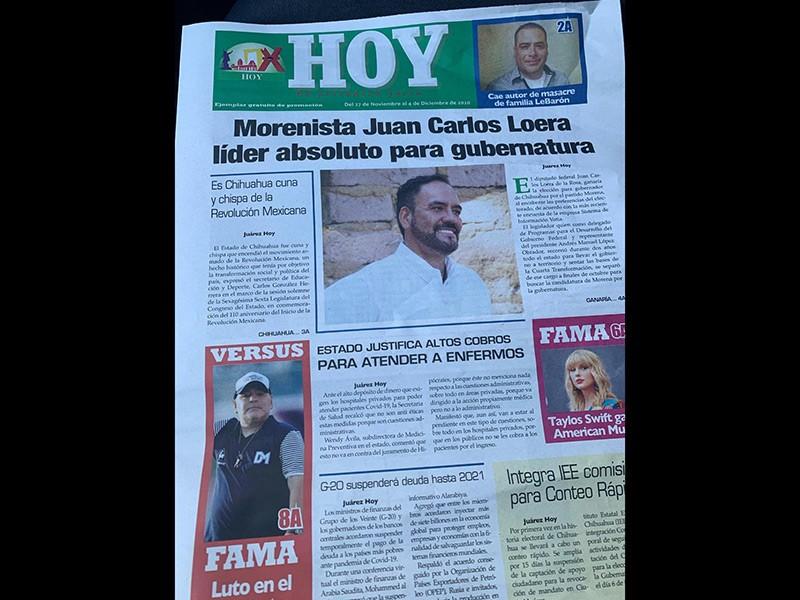 """Portada del periódico Juárez Hoy: """"Morenista Juan Carlos Loera líder absoluto para gubernatura"""""""