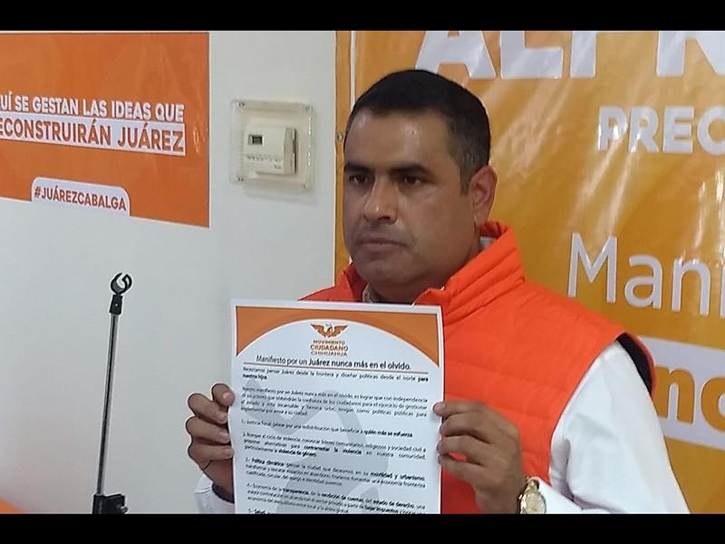 Caballo Lozoya en su presentación como precandidato de Movimiento Ciudadano
