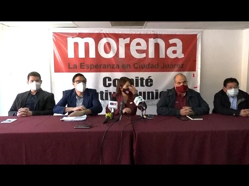Rueda de prensa de militantes de Morena en la que rechazan precandidatura del alcalde Cabada