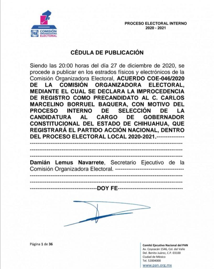 Resolución que desechó el registro de Carlos Borruel como precandidato del PAN para la gubernatura de Chihuahua.