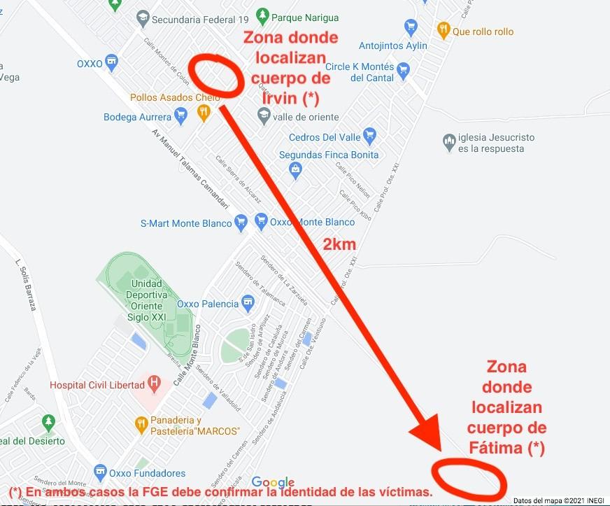 Ubicaciones de los lugares donde encontraron los cuerpos de Irvin y Fátima
