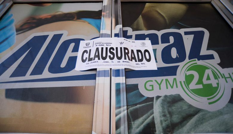 Uno de los gimnasios de Ciudad Juárez con sellos de clausura