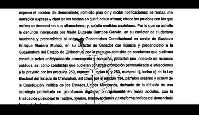 Denuncia de Maru Campos a Gustavo Madero por actos anticipados de campaña