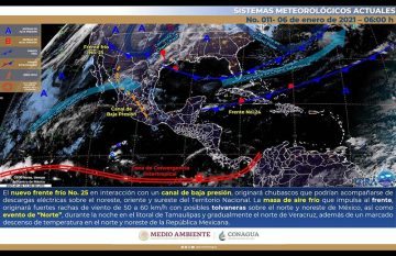 Mapa de satélite que muestra al frente frío 25 en su camino a la frontera