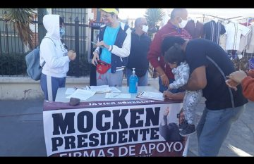 Módulo de firmas para que Javier González Mocken sea el candidato a la presidencia municipal de Juárez por Morena