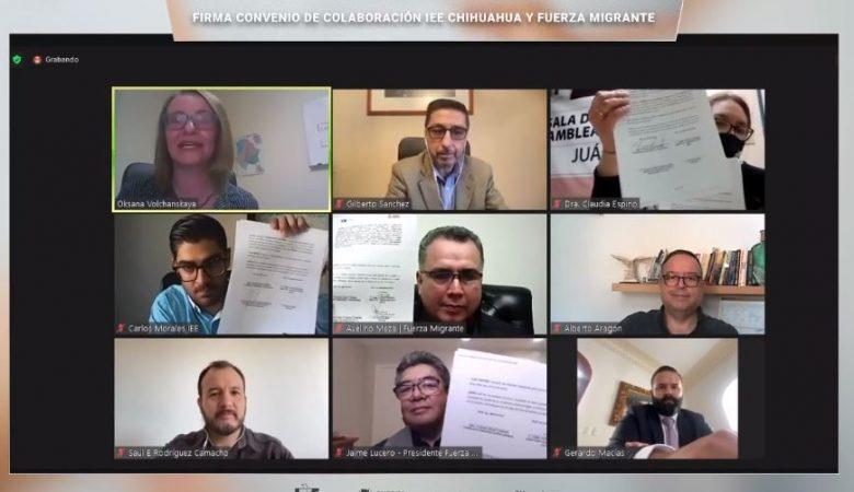 Firma del convenio entre el IEE y Fuerza migrante para coordinar acciones informativas para votantes en el extranjero