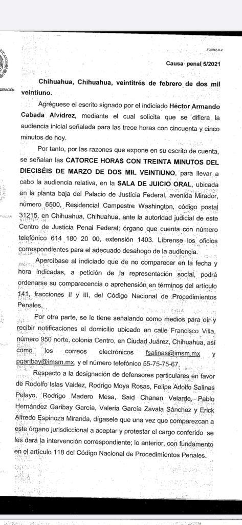 Citatorio a Armando Cabada