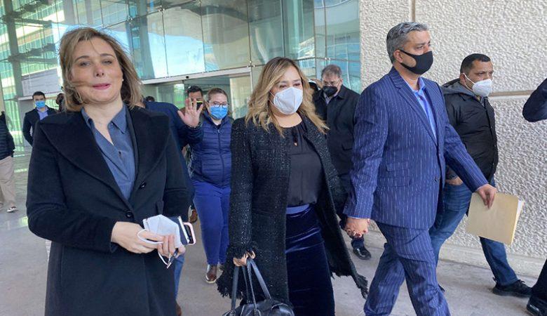 Maru Campos en una de las pasadas comparecencias, la FGE la acusa de estar relacionada a la nómina secreta