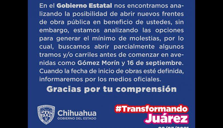 Aviso de suspensión de las obras del BRT en la Gómez Morín