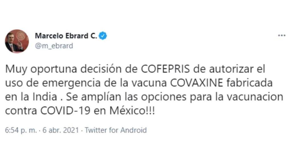 Marcelo Ebrard sobre la vacuna Covaxin