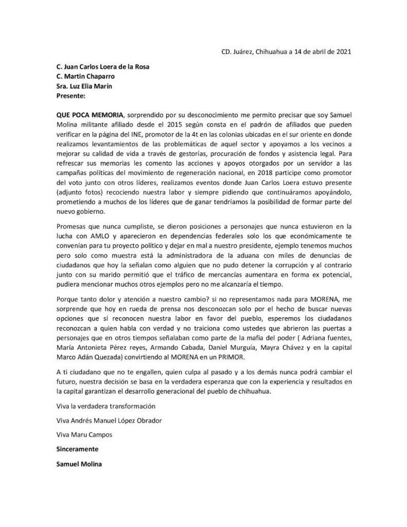 Carta de Samuel Molina a la dirigencia de Morena. Explica la decisión de unirse a la campaña de Maru Campos