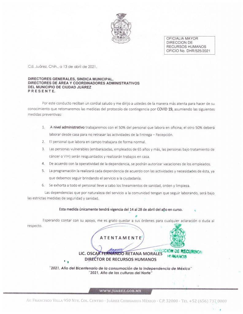 Oficio del Municipio por la contingencia del coronavirus