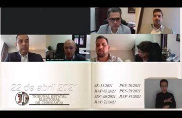 Sesión del TEE donde declararon improcedentes las impugnaciones a la candidatura de Maru Campos