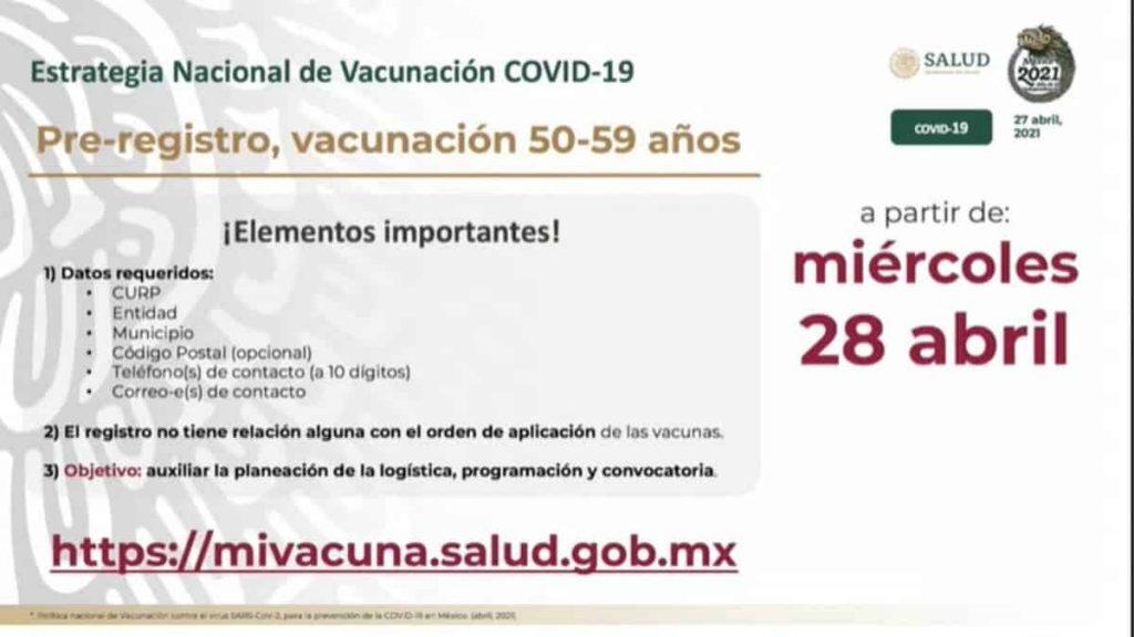 Vacuna Covid para personas de 50 a 59 años