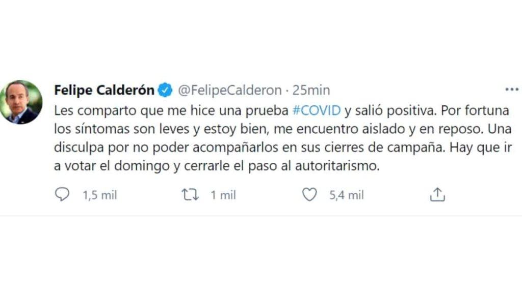 El expresidente Felipe Calderón dio a conocer por medio de Twitter que dio positivo a la prueba de Covid-19. Asegura que los síntomas son leves y se encuentra en reposo