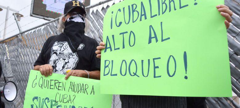 manifestantes a favor de Cuba