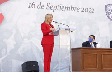 Maru en su discurso del 16 de septiembre